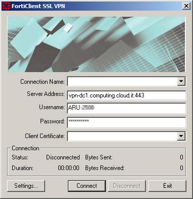 Forticlient client unable to establish the vpn